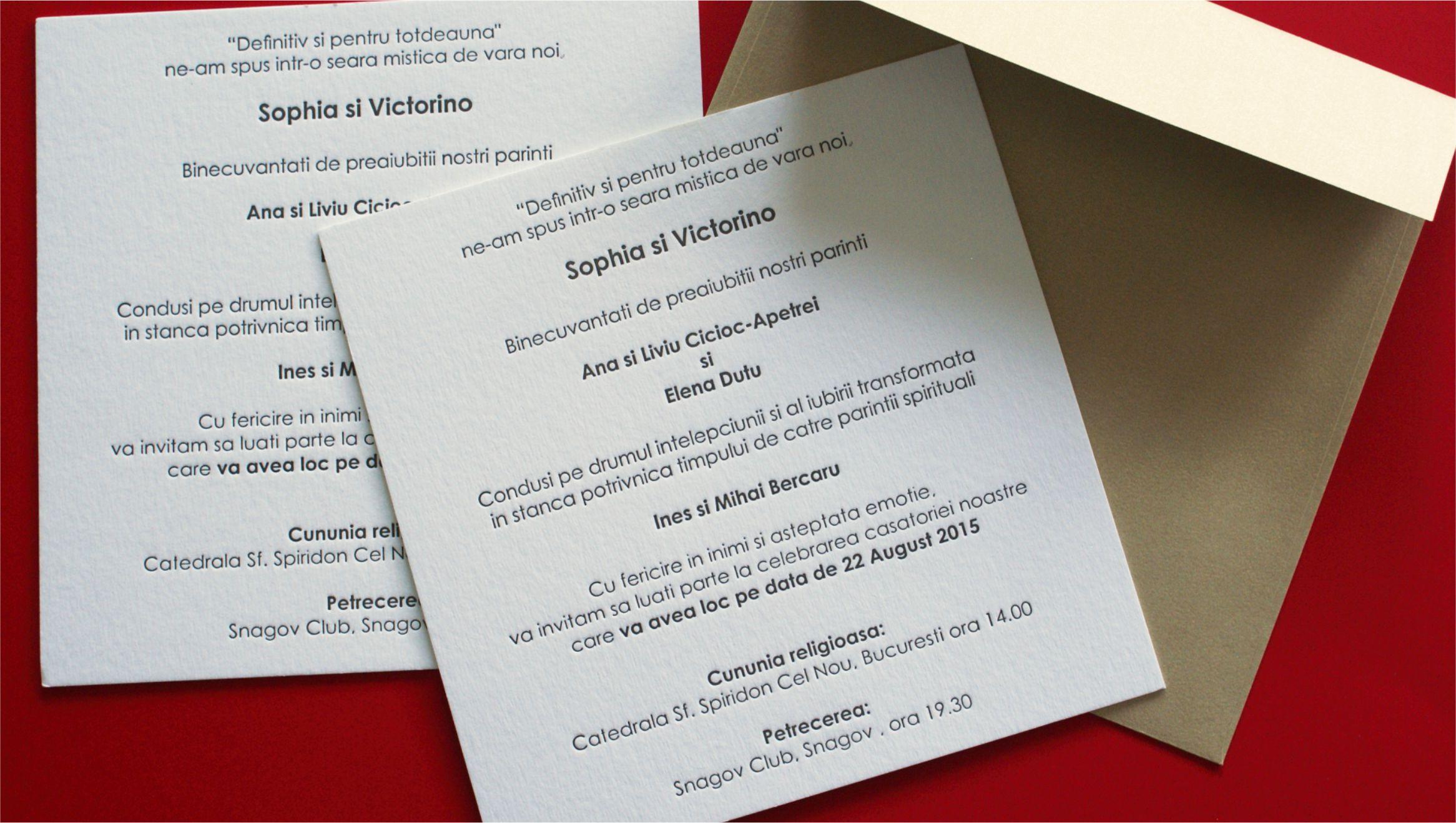 Invitatii De Nunta Lettepress Tipomedia Tipografie